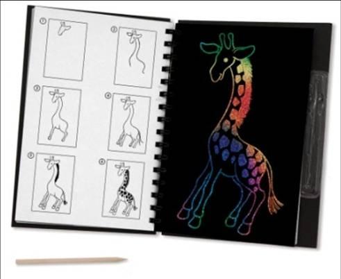 令人惊叹的非洲动物作品被隐藏在每页的创意刮画学习
